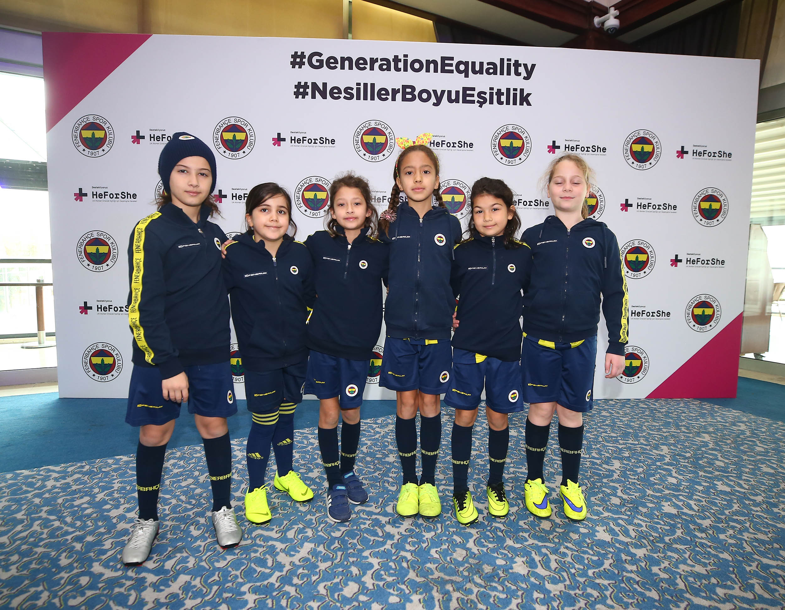 Girl Football Students from Fenerbahçe Sports Schools.